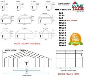 Tent Size Guide,Canopy,tents,toronto,ottawa,popup tents,