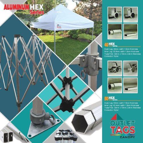 10x10 Aluminum Canopy 50 HEX
