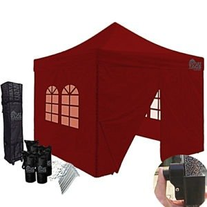 10x10 Burgundy Canopy With Four Walls