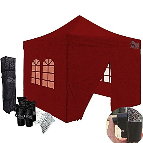 Burgundy 10×10 Iron Horse Canopy Tent with Four Walls
