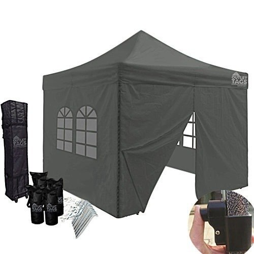 10x10 grey pop up canopy with four walls