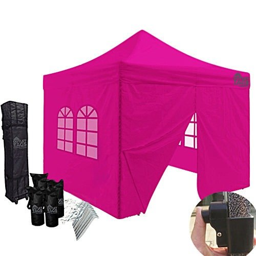 10x10 pink canopy with four walls