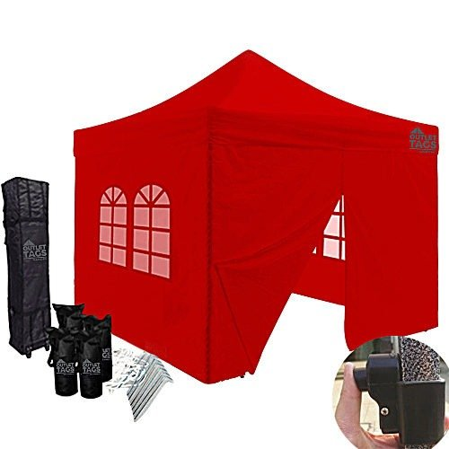 10x10 red canopy with four walls
