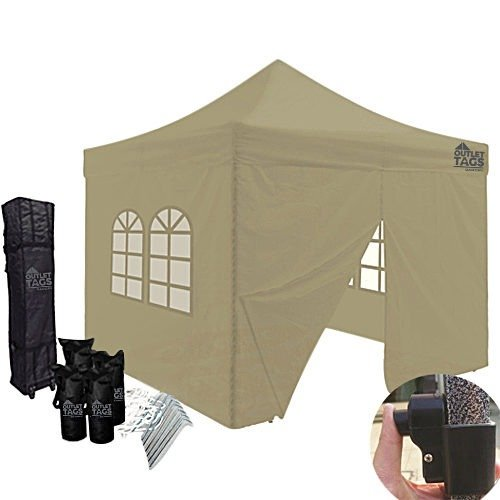 10x10 tan color canopy with walls