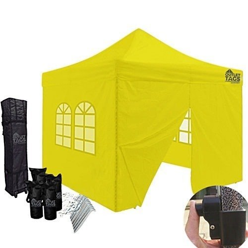 10x10 yellow canopy with four walls