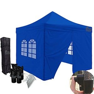blue easy up tent with walls