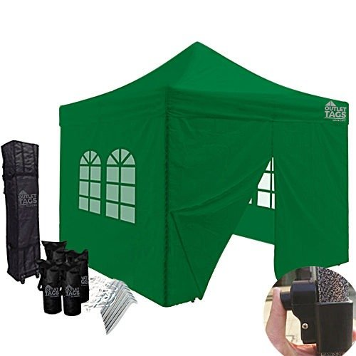10x10 green canopy with four walls