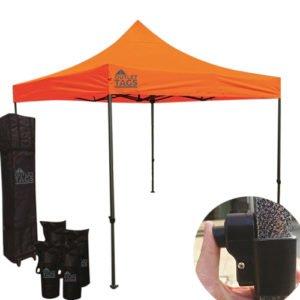 orange pop up tent