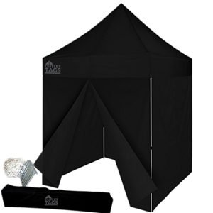 black 8x8 canopy tent with four walls