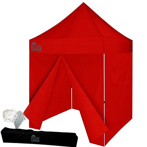 red 8x8 canopy with four walls