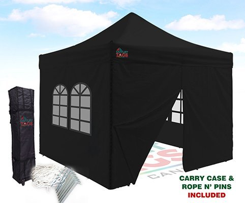 10×10 Pop-Up Canopy Tent With Four Walls – Black