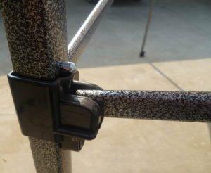 10x10 Iron Horse Canopy - Salt & Pepper Frame - Medium Quality - Multi-Colour Top