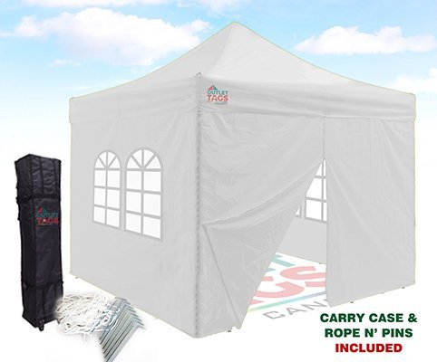 10×10 Pop-Up Canopy Tent With Four Walls – White