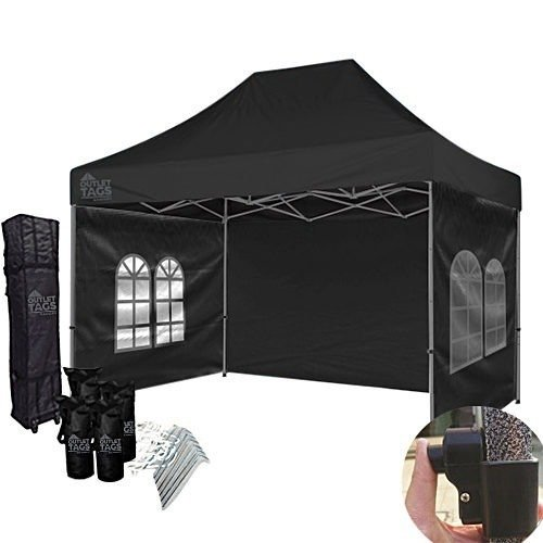 10x15 black canopy with walls