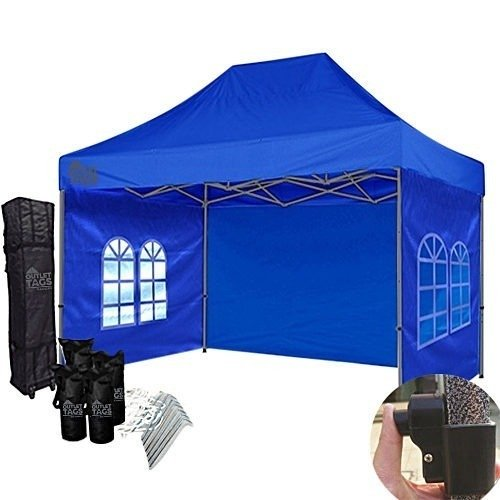 10x15 blue canopy with walls