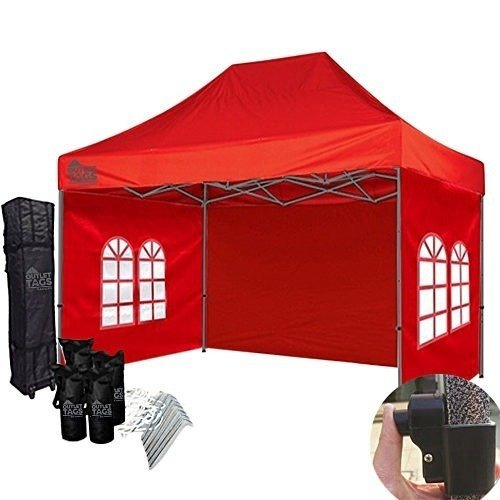 10x15 red canopy with walls